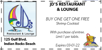 Coupon for JD's Restaurant & Lounge on Indian Rocks Beach