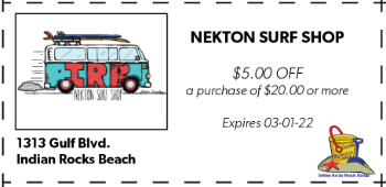 Coupon for Nekton Surf Shop on Indian Rocks Beach