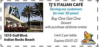 Coupon for TJ's Italian Cafe on Indian Rocks Beach